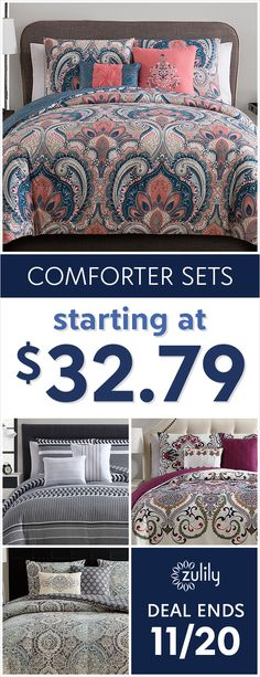 Sign up to shop comforter sets, starting at $32.79. Shop patterned and solid bedding sets to freshen up your bedroom with eye-catching designs. Deal ends 11/20.