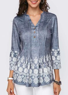 Printed Button Detail Split Neck Pleated Blouse   Rosewe.com - USD $33.69