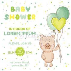 벡터 아트 : Baby Shower or Arrival Card - with Baby Bear