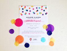Alice Lane's 5th Birthday Invitation #confetti