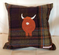 I want to make this, but with a Loughtan sheep. by TeacupTweed on Etsy, Box Cushion, Cushion Covers, British Decor, Highland Cattle, Funky Junk Interiors, Tweed Fabric, Harris Tweed, Wool Applique, Love Sewing