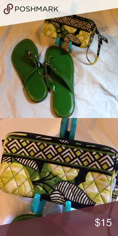 Green shoes and Vera clutch Kelly green Banana flip flops - storage wear but never worn. Vera Bradley clutch with a matching green and black pattern. Banana Republic Shoes Sandals