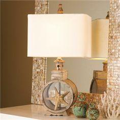 Weathered Wood Porthole Display Table Lamp - Shades of Light