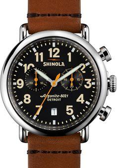 Shinola 41mm Runwell Chrono Watch, Tan/Black
