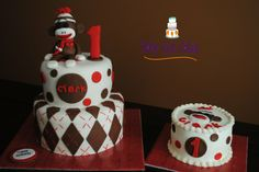 sock monkey first birthday cakes - Google Search