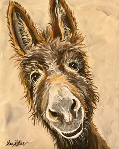 Donkey art Donkey decor. Donkey print from original canvas