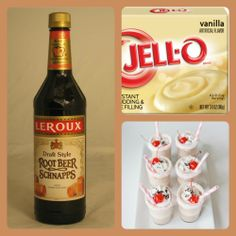 ROOT BEER FLOAT PUDDING SHOTS 1 small box vanilla pudding 3/4 C milk 3/4 Root Beer schnapps  1 8 oz tub Cool Whip Directions 1. Whisk together the milk, liquor, and instant pudding in a bowl until combined. 2. Add cool whip a little at a time with whisk. 3. Spoon the pudding mixture into shot glasses, disposable party shot cups or 1 or 2 ounce cups with lids. Place in freezer for at least 2 hours