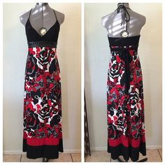Body Central Floor Length Halter Top Maxi Dress Black, White, Red, & Gray. Maxi Dress. Halter top with cups. Polyester & Spandex Material. Pleather Detail. Body Central Dresses Maxi