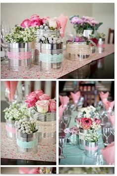 Garden party centerpieces decoration 54 ideas for 2019 Tin Can Crafts, Diy And Crafts, Handmade Crafts, Handmade Rugs, Wedding Decorations, Christmas Decorations, Table Decorations, Party Centerpieces, Deco Champetre