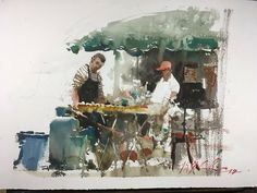 """Food stall in Zhuhai- it was sooooo hot and steamy.they gifted me most delicious home made noodle dish after. art crosses all bridges. Watercolor Artwork, Watercolor Sketch, Watercolor Portraits, Artist Painting, Figure Painting, Watercolour Painting, Painting & Drawing, Watercolor Landscape, Watercolors"
