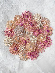 DIY+Pink+Brooch+Bouquet+Kit++25+Rose+Gold+Brooch+lot+by+Mlleartsy