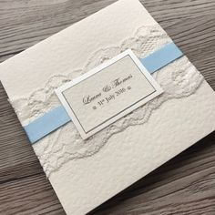 Luxury Wedding invitation handmade pocketfold with lace and ribbon Pocketfold Invitations, Wedding Invitation Samples, Handmade Wedding Invitations, Bathroom Containers, Invitation Examples, Lace Wrap, Rsvp, Color Schemes, Ribbon