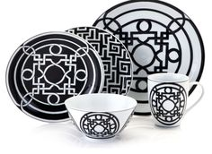 Labyrinth Dinnerware - Sets of 4 - Black & White | Dinnerware | Tabletop-and-bar | Z Gallerie  $23.96