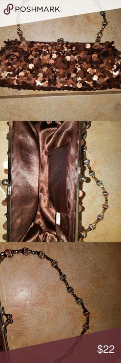 Sequence Mini Evening Bag. BNNT. Copper/Brown Sequence with detailed handle. Bags