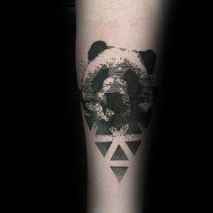 Geometrical Abstract Panda Male Tattoo Design Inspiration