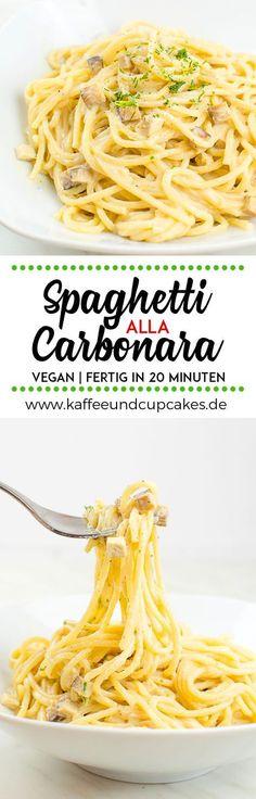 Vegane Spaghetti alla Carbonara Super cremig, sahnig, würzig und fertig in nur 20 Minuten! Das perfekte Comfort Food für Pasta-Liebhaber. #vegan #rezept #pasta #nudeln #schnell #einfach #vegetarisch #kichererbsenmehl #kalanamak #spaghetti #tofu #räuchertofu #kaffeeundcupcakes