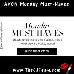 Shop Avon Monday Must-Haves!  Shop the Avon products consistently ranked highest by our most valued beauty expert – YOU!  See what the hype's about.  This week's favorites include Anew Platinum Night Cream, True Color Nail Enamel and Anew Brightening Sheet Masks.  Free shipping w/ $40 or more.  #TrueColor #Anew #AvonMakeup #FanFaves #AvonFanFaves #MondayMustHaves #FanFavorites #CJTeam #FreeShipping #C12 Shop Avon Fan Favorites @ www.TheCJTeam.com