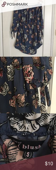 Blue off the shoulder top with floral design I bought this off the shoulder dress on poshmark and I LOVE it, however, it is too small on me :( it needs a good home because it's ADORABLE!! Blush Dresses Mini