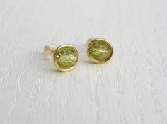 Peridot stud earrings, August birthstone earrings by SarittDesigns on Etsy