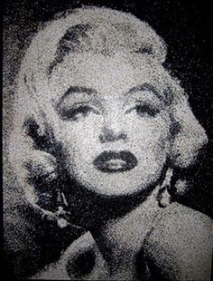Marilyn Monroe. Artist creates dazzling celebrity portraits with hole-punch dots.