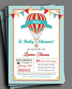 Hot Air Balloon Invitation Printable or Printed by ThatPartyChick