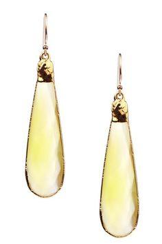 Vivian Tamayo  Yellow Chalcedony Briolette Drop Earrings