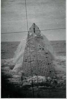 German submarine U-427. Photo taken through the periscope