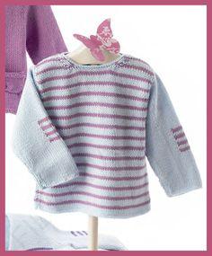 EXPLICACIONES - Patrón jersey de bebé de lanas Katia. Primavera-Verano