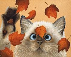 ERIN MARTIN Lowell Herrero whimsical siamese cat in leaves 16x20 print poster  #Modernism