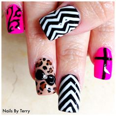 Mix gel Designs with 3-D acrylic black bow and rhinestone nails by Terry
