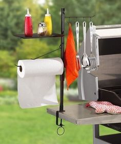 BBQ Accessory Organizer Stand Tool Rack Steel Cook Camping Grill Utensil Holder for sale online Camping Grill, Camping Kitchen, Camping Cooking, Camping Tips, Condiment Holder, Utensil Holder, Towel Holder, Utensil Organizer, Grill Area
