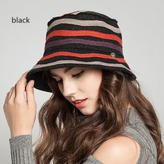 Fashion striped bucket hat for women wool winter hats e7c5ea3c76