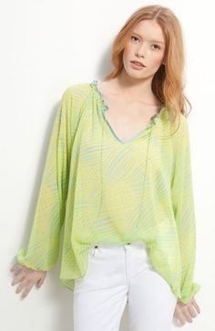 Hinge - Top Items Online Sorted by Popularity Print Chiffon, Sheer Chiffon, Going Out Tops, Peasant Tops, Sheer Blouse, Style Me, Bell Sleeve Top, Womens Fashion, How To Wear