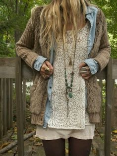Brown Comfy Cardigan With Lace Blouse and Leggings