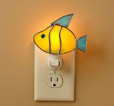 Stained Glass Night Light  Fish by StainedGlassDanaLin on Etsy, $25.00