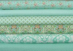Half Yard Bundle of Flora in Teal  by Lauren by SistersandQuilters, $28.18