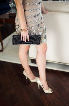 Simple black clutch and peep toe heels-Kacee from Life with Lipstick On