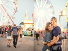 Engagement at a county fair carnival - love the light of the ferris wheel!