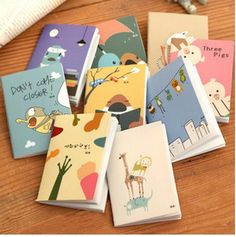 W-Free shipping 5.7*7.8cm lovely cartoon image 9 types notebook(1lot=3piece)