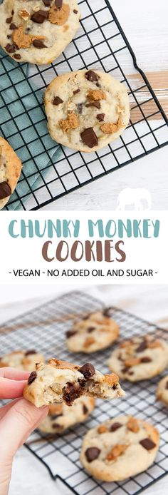 Chunky Monkey Cookies (Vegan, Oil-Free, Sugar-Free) | ElephantasticVegan.com #cookies #chunkymonkey #chocolate #peanutbutter #banana #dairyfree #vegan #oilfree #sugarfree via @elephantasticv