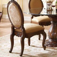 You will find the world's finest Victorian and French furniture reproductions for your living, dining, bedroom, and more. Grey Dining Tables, Dining Chairs, Tuscany Decor, Upper Cabinets, French Furniture, Glass Shelves, Dining Room Furniture, Designer Collection, Side Chairs
