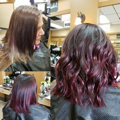 fall colour- dark brown into bright magenta red ombre. created soft waves with the flat iron.