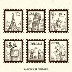 Set of landmark stamps with different cities in hand drawn style Free Vector Journal Stickers, Planner Stickers, Photographie New York, Postage Stamp Design, Travel Stamp, Homemade Stickers, Celebration Quotes, Aesthetic Stickers, Printable Stickers