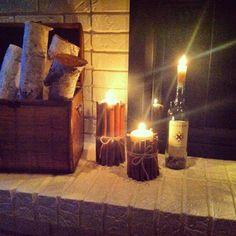 candle candlelit fireplace logs birch cinnamon twine diy wine bottle brick