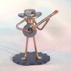 Welded NUT and BOLT Cowboy BANJO Player by EnjoyingAntiques