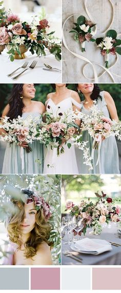 romantic mint and dusty pink summer wedding color ideas