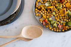 Roasted #Chickpeas with Romanesco, Peppers + Anchovies. I will definitely try this! Love, Sarah www.goachi.com
