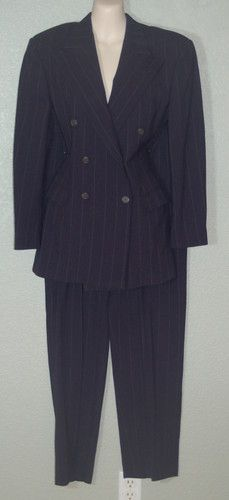 Ralph Lauren Collection Pant Suit 6 Wool Double Breasted Pinstripe Navy Blue