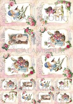 Calambour paper, glossy, light with great adhesion. Pattern: children, sheep, angels, presents, roses, bird, robin redbreast, writing, pine needles, snow.