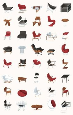 mid-century modern furniture.